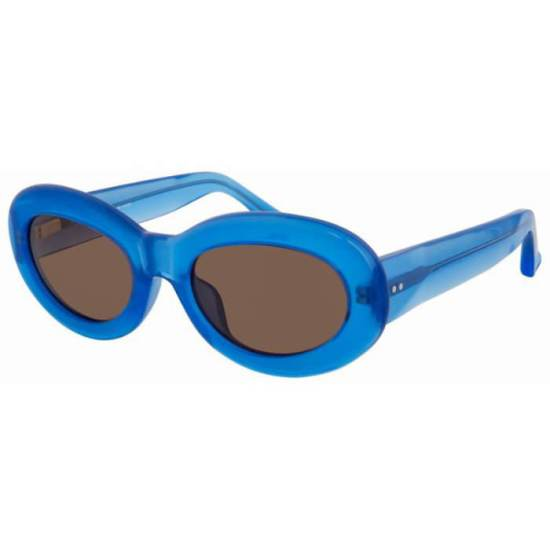 Dries Van Noten x Linda Farrow blue oval sunglasses as seen on Rihanna