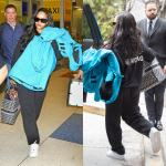 Rihanna Balenciaga blue jacket, logo sunglasses and back logo hoodie, Nike Air Force 1 white sneakers, Dior monogram book tote