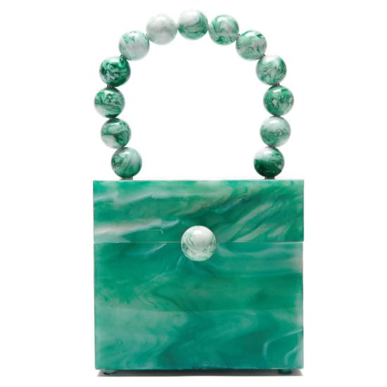 Cult Gaia Eos green marble bag as seen on Rihanna