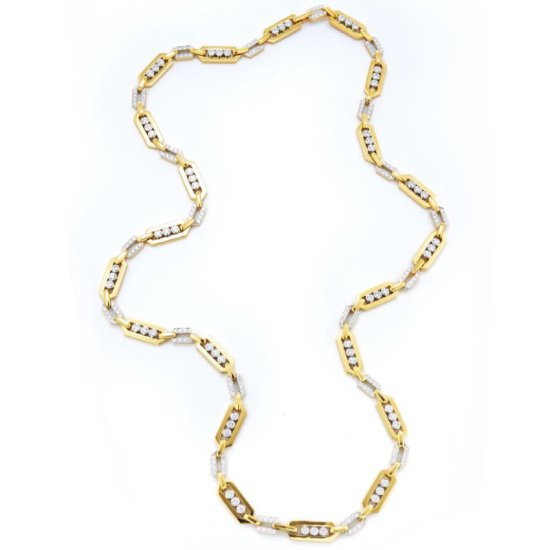 David Webb gold and diamond link necklace as seen on Rihanna