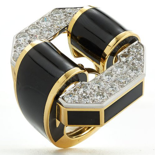 David Webb black enamel, gold, platinum and white diamond Tire ring as seen on Rihanna