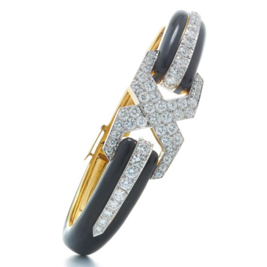 David Webb black enamel, gold, platinum and white diamond X bracelet as seen on Rihanna