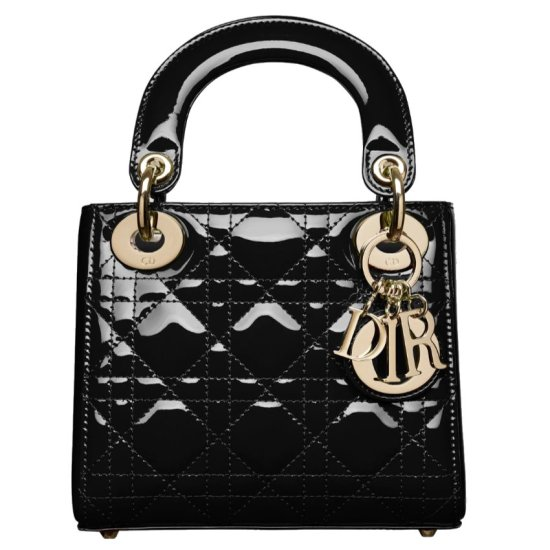 Dior Lady Dior black patent leather mini handbag as seen on Rihanna