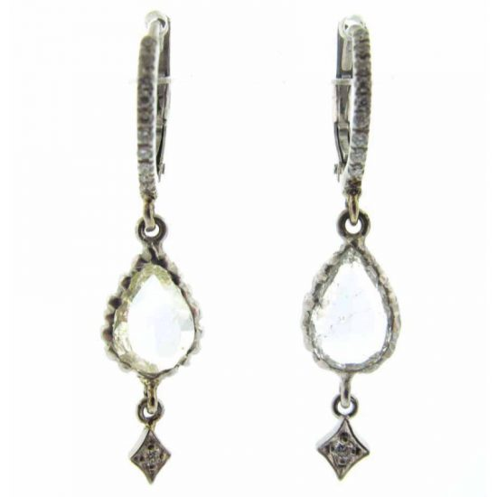 Loree Rodkin diamond teardrop hoop earring as seen on Rihanna