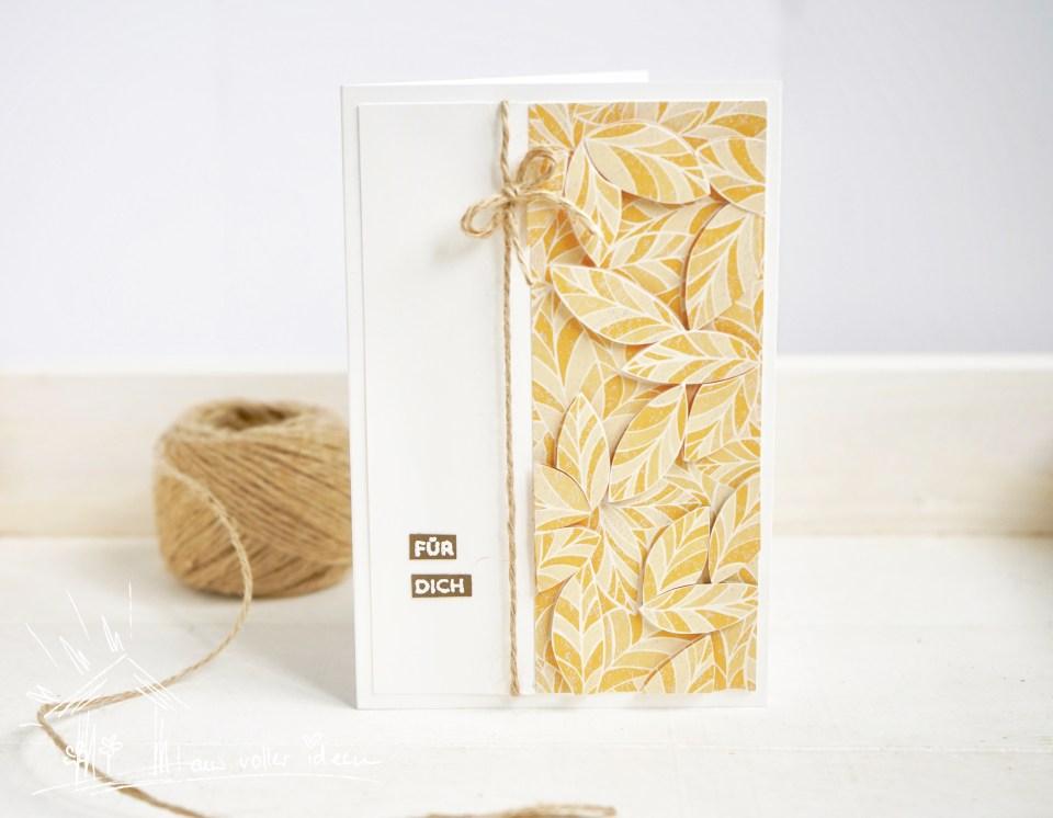 Mosaik-Papier - Grußkarte mit Blättern