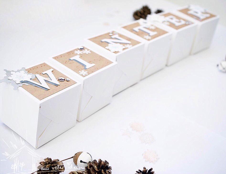 Würfel-Dekoration für Winter, Advent und Herbst