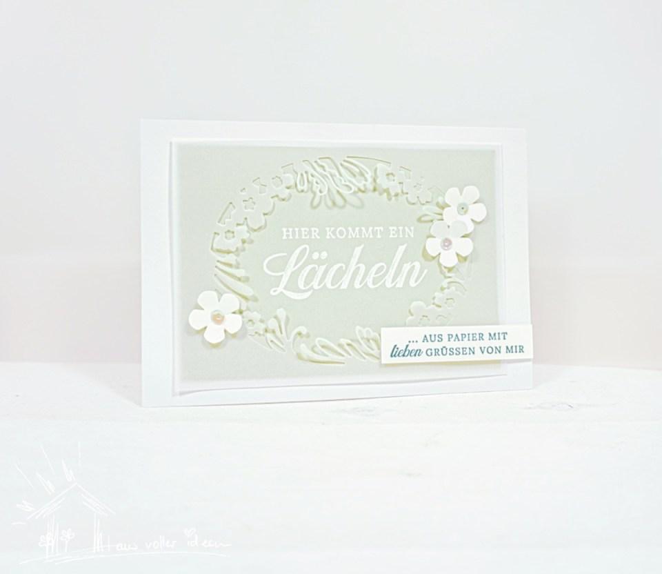 Ein Lächeln aus Papier - Grußkarte mit Blühendes Etikett und Blütenstanze