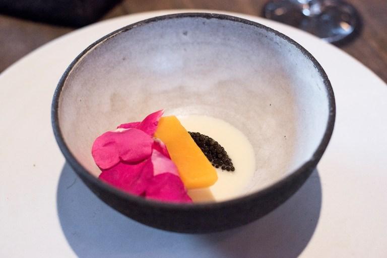 Pumpkin, rose petals and caviar