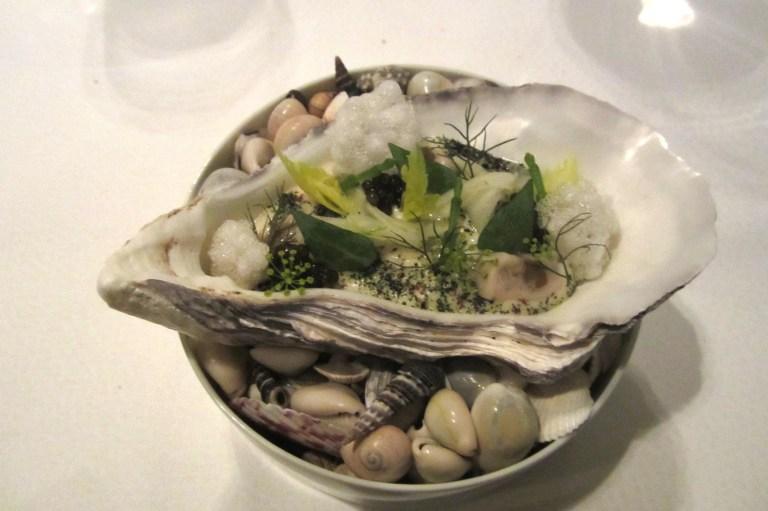 Gillardeau oyster - poached & raw marinated. Calf's head, fennel & salicornia