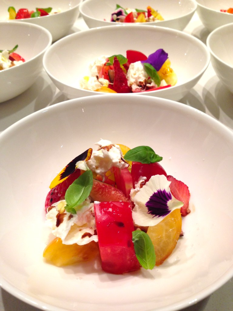 Salad of tomato, burrata and figs. Photo: courtesy of Mirazur