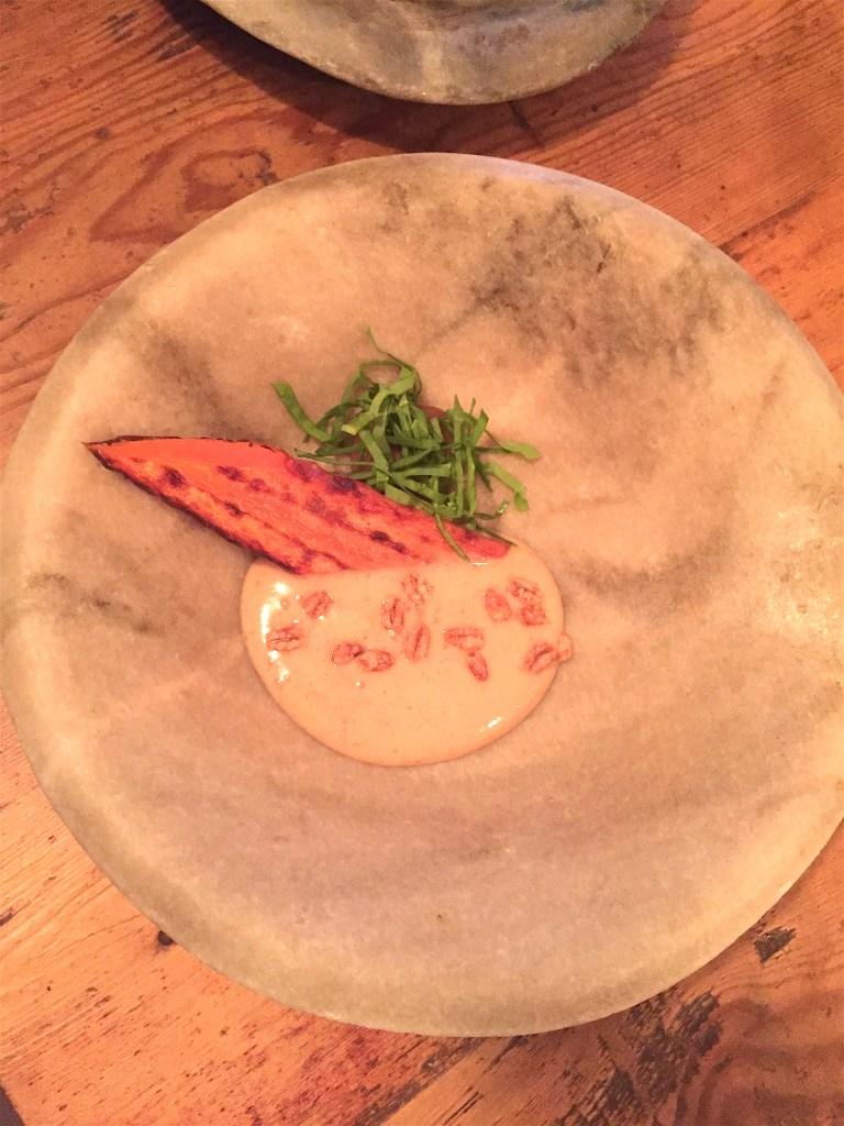 Sandy carrot, roasted barley, raisin, sorrel
