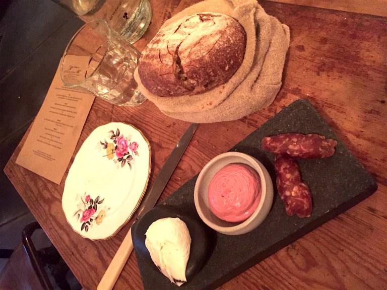 Sourdough, smoked bone marrow butter, chicken liver mousse, cellar salumi