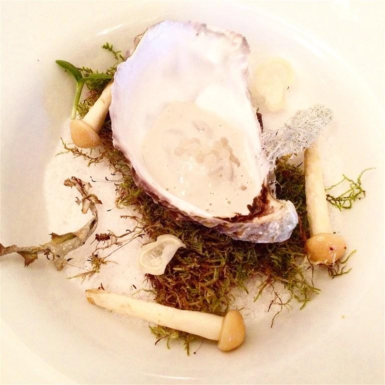 Persimmon cream, jerusalem artichoke, oyster cream, snail caviar