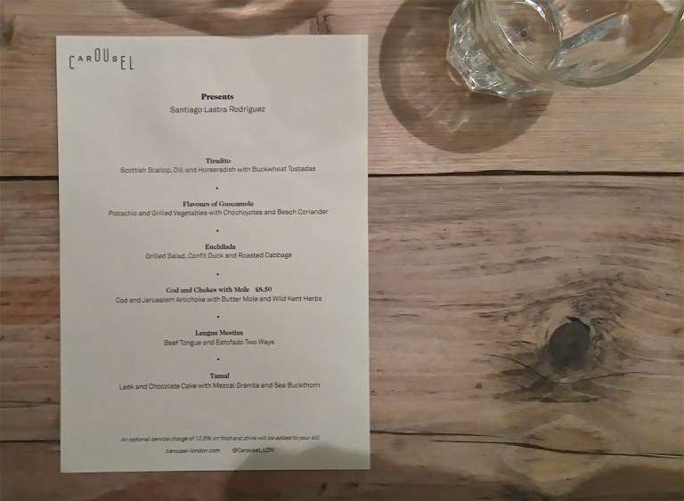 The menu of the evening