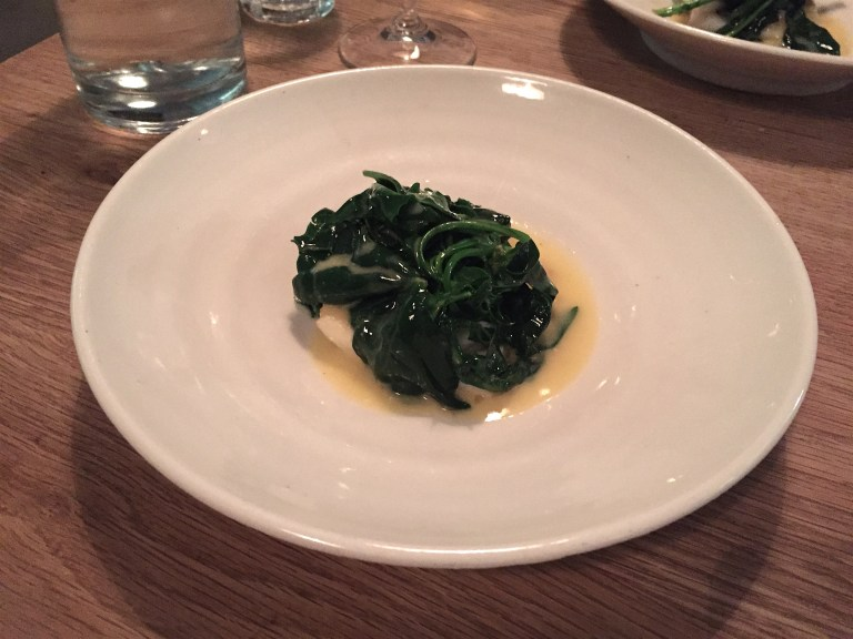 Brill. greens and vin jaune butter