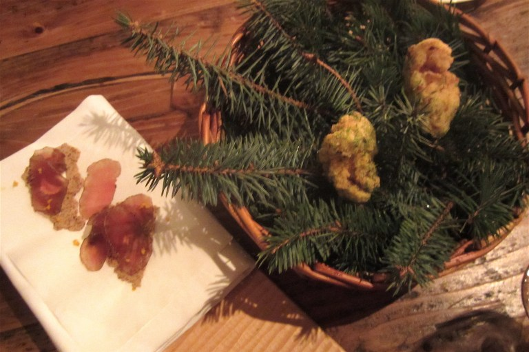Buttermilk fried chicken with pine salt and oak smoked cod's roe, fennel and rye crackers