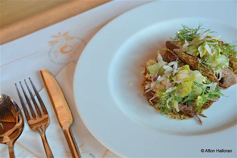 Taco de lengua/Tongue taco - nixtamalized øland wheat tortilla with koji chovi cream and wild herbs and flowers from Polenzo