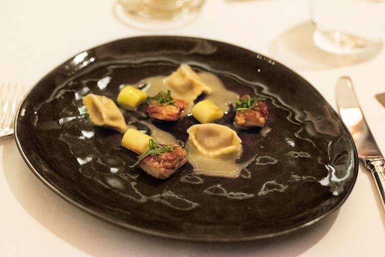 Barbeque chicken wings/parfait agnolotti/grilled leek/jack by the hedge - Alyn Williams