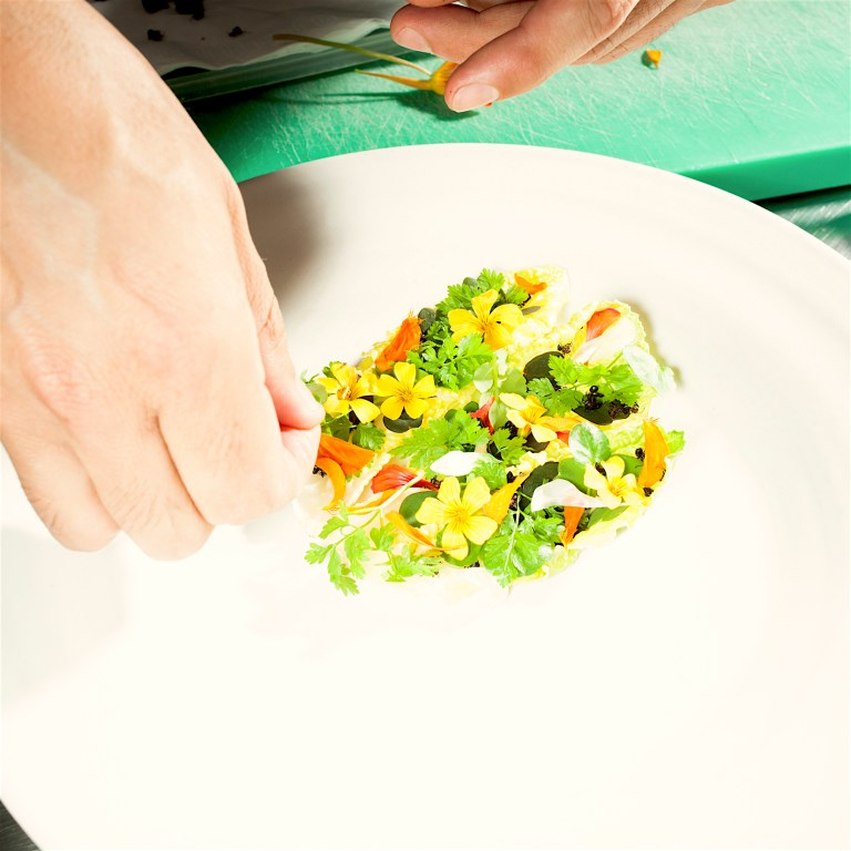 Smoked salad wild herbs, honey and ants. Photo: Brian Finke