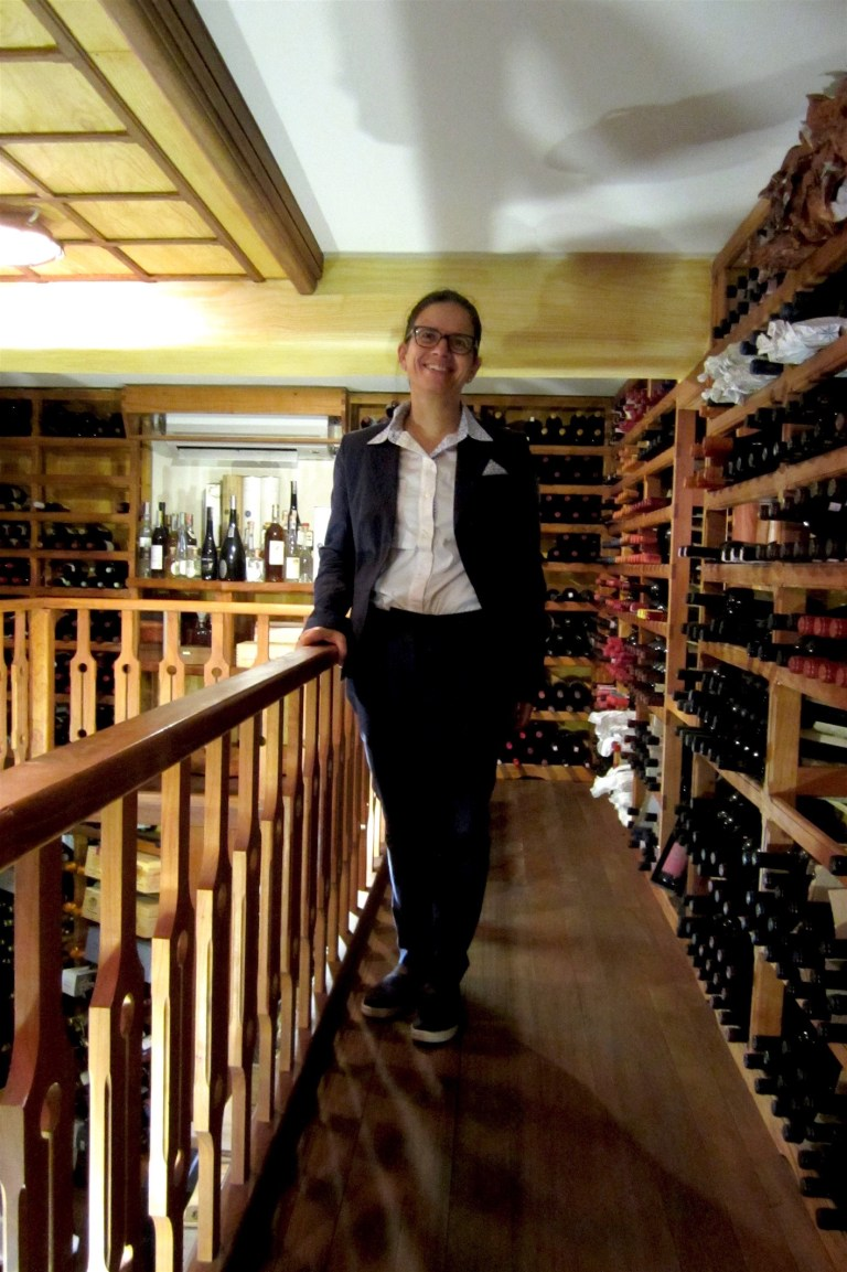 Mariella Caputo, wonderful lady who is also in charge of the wines, in the fantastic wine cellar