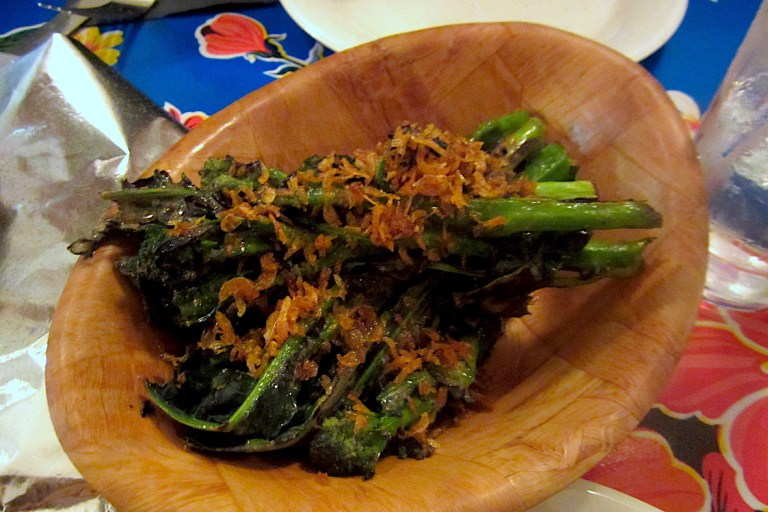 Purple sprouting broccoli with fermented shrimp butter