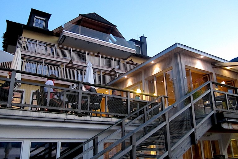 The stairs take from the lake to the terrace and the restaurant