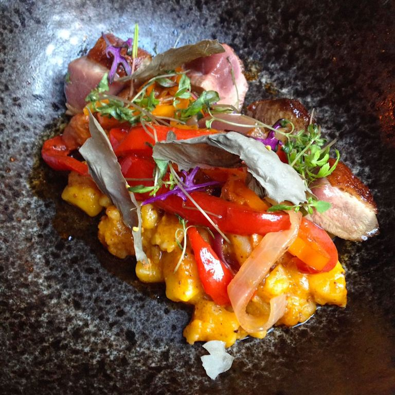 Duck Escabeche - Eco Dry Potatoes, Yellow Chillies, Red Amaranth