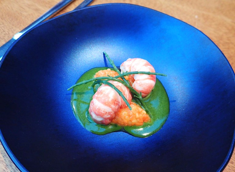 The prawns by Sven Elverfeld. Photo: Val Burana