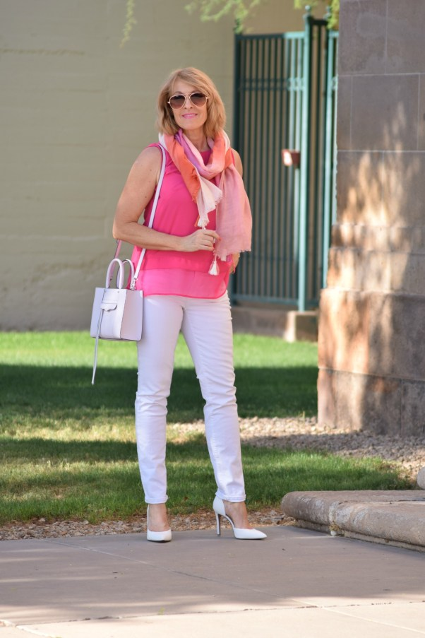pink top white jeans scarf 480