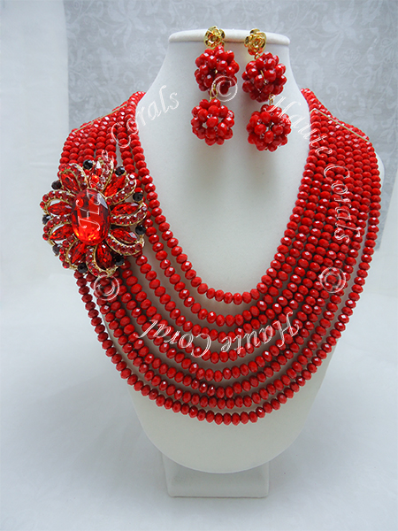 Olanna Red Crystal Beads Statement Necklace Set
