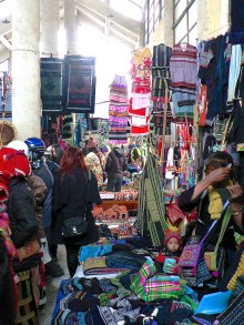 Sapa Hill Tribe Market selling Hmong and Red Dao handicrafts