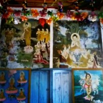 The walls were covered with pictures of deities