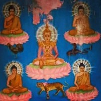 Painting of monks meditating