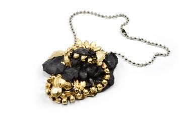 Concrete Costume Cluster Necklace - Black