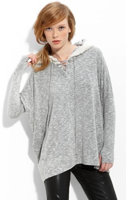 Dolan Faux Fur Trim Hooded Poncho $154