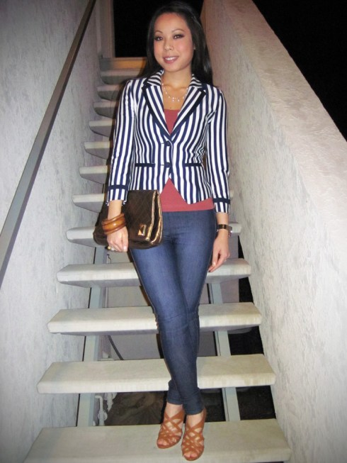 An Dyer in H&M Breton Striped Blazer | Brass Plum Camisole | London Bridge Jeggings | Bakers Caged Heels | Michael Kors Watch | Pearl Necklace mady by my Mom :) and ring gifted from my Dad | Banana An Bangles