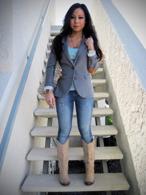 An Dyer in H&M Blazer | Charlotte Russe Jeggings | Louis Vuitton Saleya Gm bag & Monogram Inclusion Necklace | Michael Kors Watch | Forever21 Tank | JC Penny's Ring | Mia Limited Edition Bounty Boots