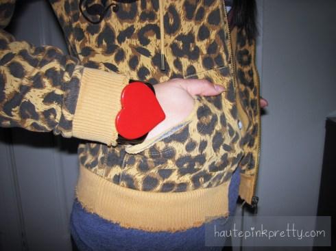 An Dyer in DKNY Lambskin Leather Jacket   Louis Vuitton Ribera Mm   ShoeDazzle London Pumps   LAMB Leopard Print Hoodie   Forever 21 Hello Kitty Tee   Brass Plum Heart Cuff Bracelet