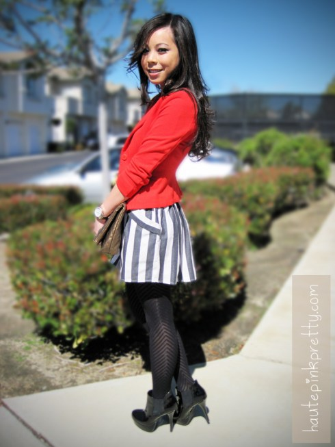 An Dyer in H&M Red Blazer | Forever 21 Black Tube Top, Striped Sailor Skirt | JC Penney Worthington V Striped Tights | Brass Plum Clutch | Steve Madden Black Raven Boots | Banana An Bangles | Michael Kors Watch | Louis Vuitton Monogram Inclusion Necklace