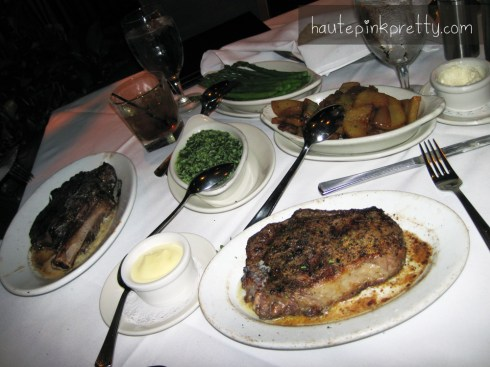 Ruth's Chris Steak House Rib Eye Creamed Spinach Asparagus and Potatoes Lyonnaise