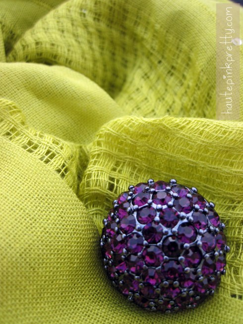 An Dyer Forever 21 Chartreuse Scarf and JC Penny Plum Crystal Ring