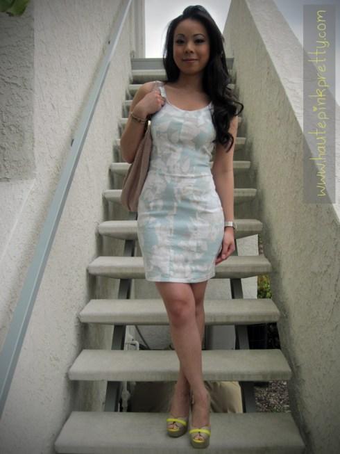 H&M Floral Dress   Forever 21 Bow Ring   Michael Kors Blush Hobo & Watch   ShoeDazzle Privy Peeptoe Platforms