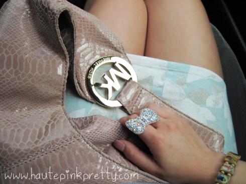 An Dyer in H&M Floral Dress, Forever 21 Ring, Michael Kors Blush Hobo