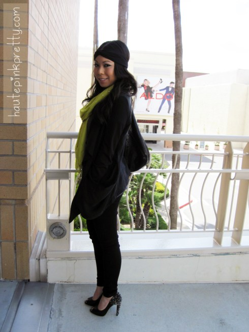 An Dyer in Topshop Black Waterfall Jacket, Brass Plum Grey Tee, Forever 21 Black Jeggings, Turban Headband and Chartreuse Scarf, JC Penny Plum Crystal Ring, Sam Edelman Lorissa Pumps in Black Leather