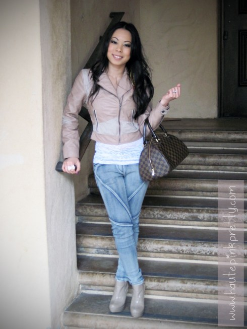 An Dyer in H&M Blush Perforation Leather Biker Jacket, American Basics Burnout Tank, Forever21 Angel Wing Necklace and Bow Ring, Lara's Closet Moto Jeggings, Louis Vuitton Ribera Mm, Steve Madden Taupe Raven Boots