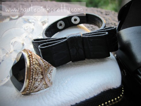 Jeffrey Lazaro White Leather Handmade Bag, Forever 21 Ring, Banana An Necklace and H&M Black Bow Bracelet