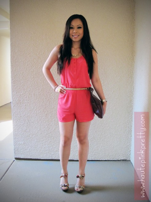 An Dyer in Forever 21 Hot Pink Romper, Gold Woven Belt, Gold Bird Necklace, Rose Ring, Jeffrey Lazaro Handmade Chocolate Leather Bag, ShoeDazzle Nattie Platform Sandals
