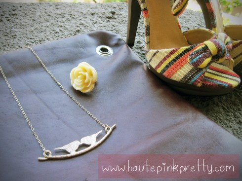 Forever 21 Gold Bird Necklace, Rose Ring, Jeffrey Lazaro Handmade Chocolate Leather Bag, ShoeDazzle Nattie Platform Sandals