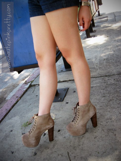 An Dyer in Forever 21 Shorts, Jeffrey Campbell Lita in Taupe