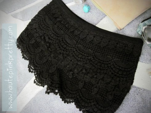 Brass Plum Black Tiered Crochet Lace Shorts